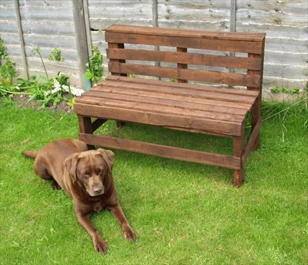 This is our last idea in this project which is also about the wooden pallet bench and it is placed in the garden and a cute pet is sit near it. Look in the picture that the bench is painted with brown color and dog is also browned its amazing.