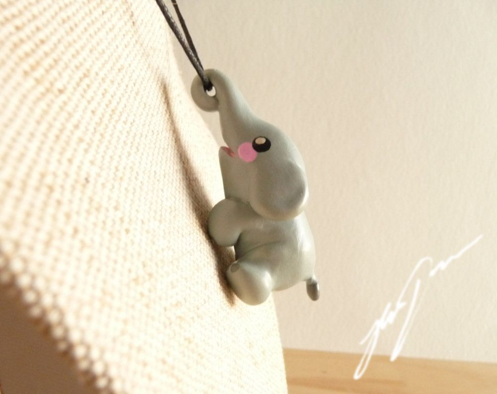 Elephant Necklace Pendant Cute Sculpted Polymer Clay By