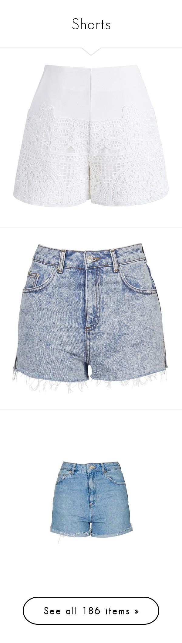 """Shorts"" by isthelastofus ❤ liked on Polyvore featuring shorts, white, crochet shorts, white crochet shorts, white ruffle shorts, white shorts, cutoff shorts, bottoms, short and denim shorts"
