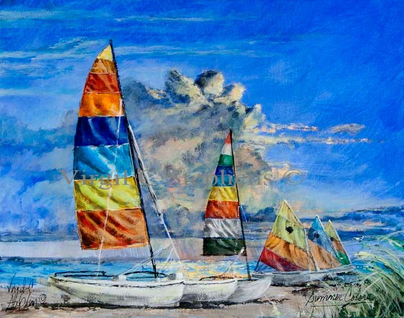 Sailboat Art Summer Colors Print From The Original Oil Etsy Sailboat Art Original Oil Painting Sailboat Painting