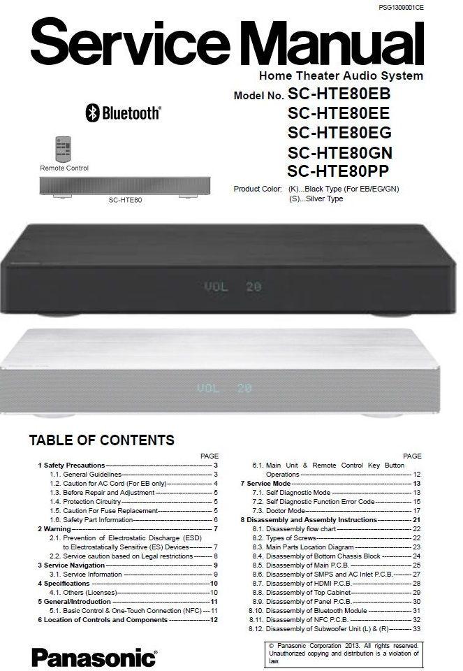 Panasonic Sc Hte80 Sound Bar Service Manual Repair Guide In 2021 Sound Bar Printed Circuit Boards Repair Guide