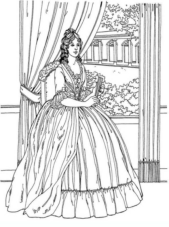 noblewomen_33 Adult and teen coloring pages | Adults Color Too ...