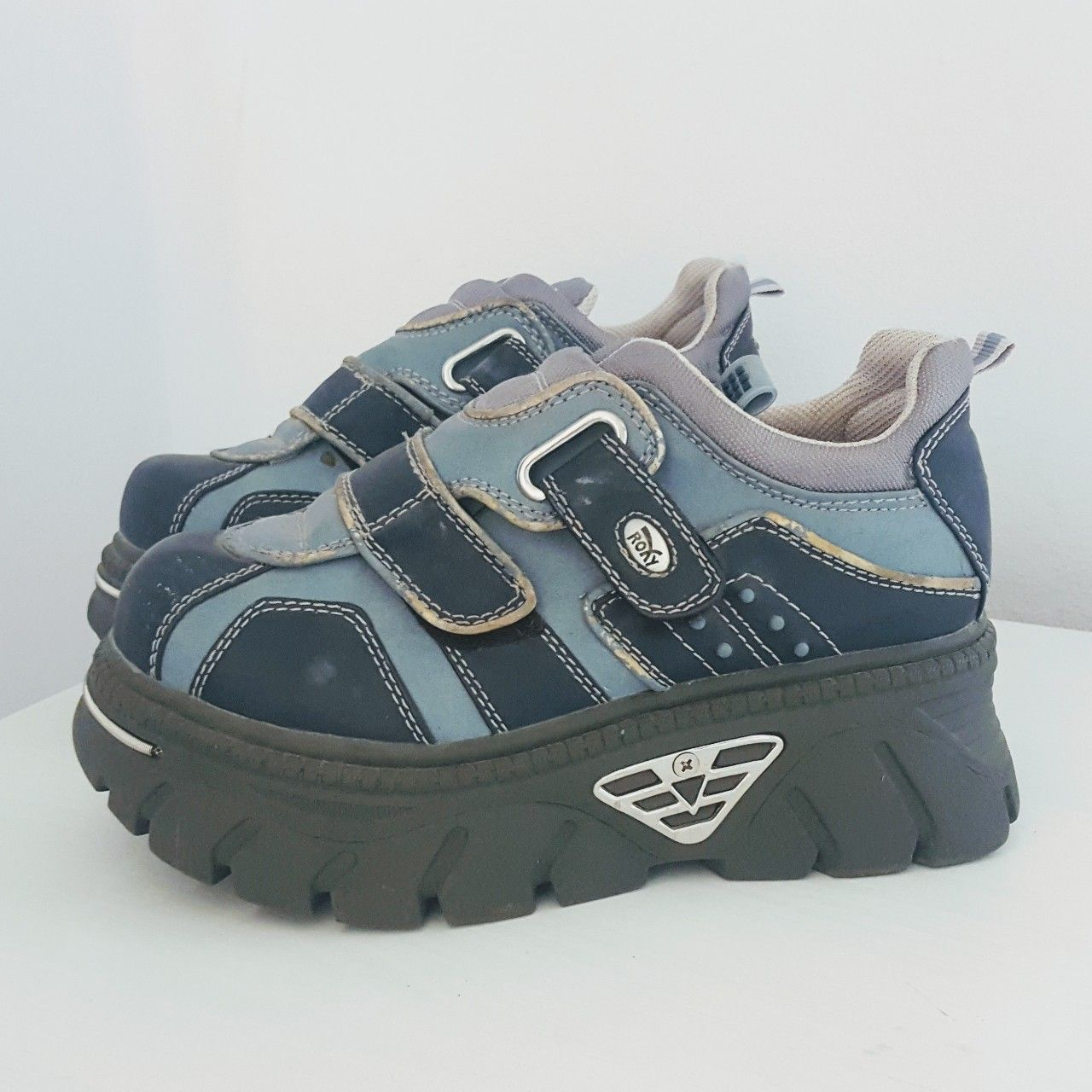 Reduced Grey And Blue Vintage Chunky Roxy Depop Aesthetic Shoes Cute Shoes Fashion Shoes