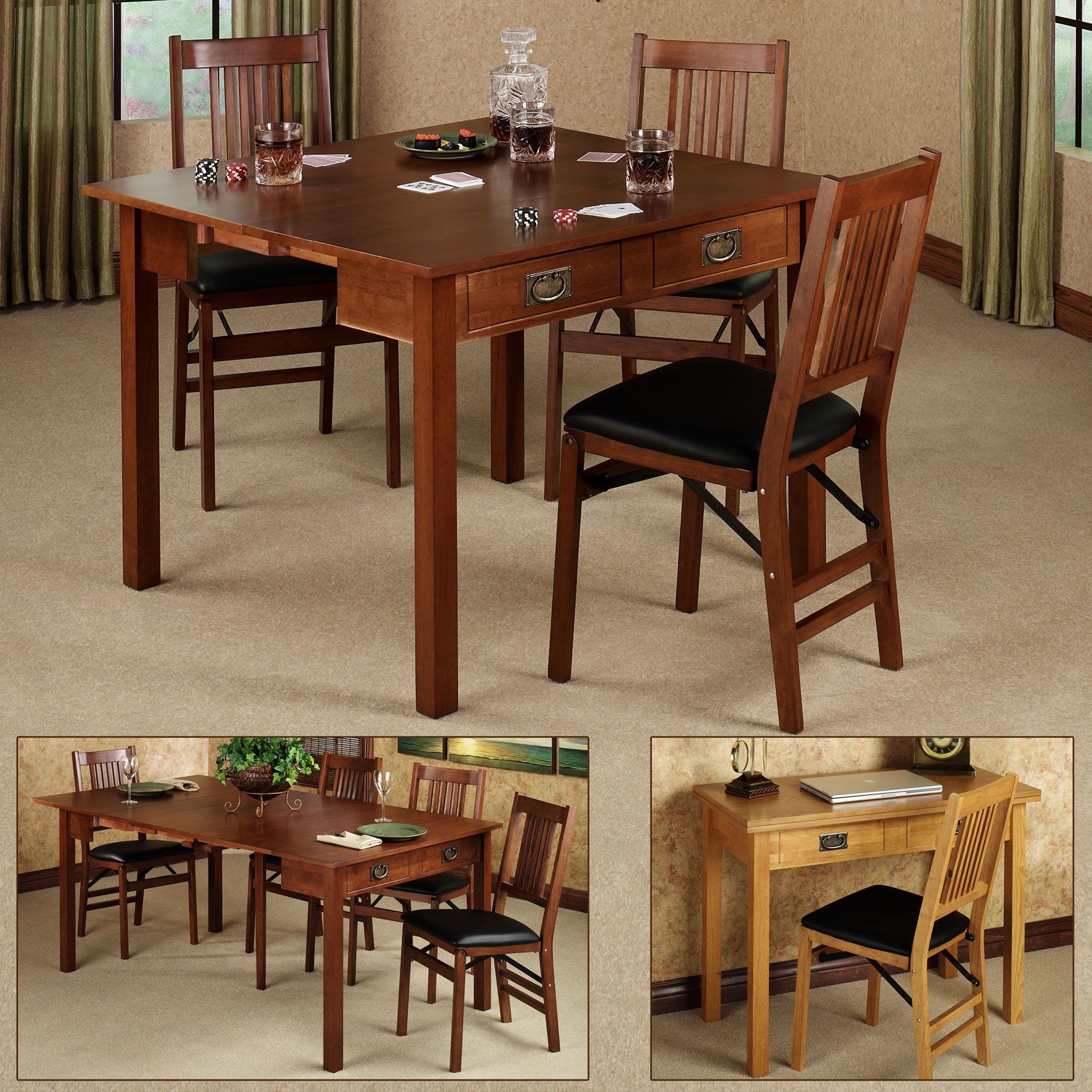 Mission Fruitwood Finish Convertible 3 In 1 Table Dining Room