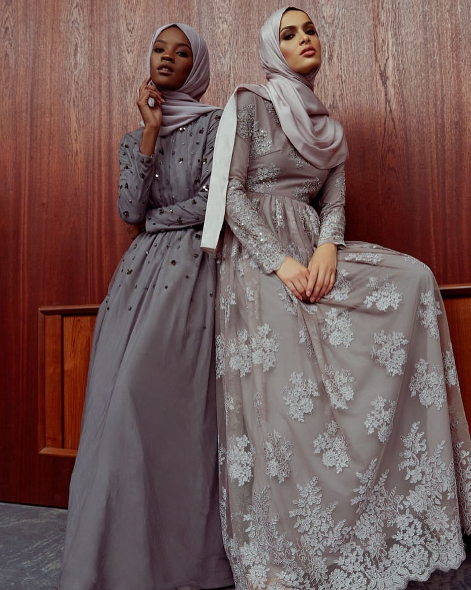 """ae067ea6d6 islamic-fashion-inayah: """"New arrivals - Grey Floral Cluster Bead Gown Mink  Embellished Lace Gown available online: www.inayah.co """""""