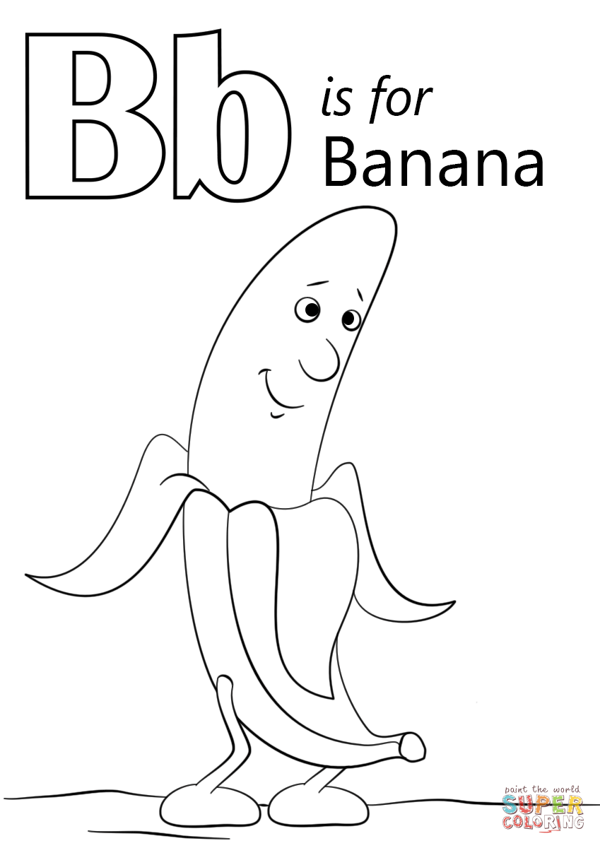 Letter B Is For Banana Coloring Page Free Printable Coloring Pages Abc Coloring Pages Letter B Coloring Pages Preschool Coloring Pages