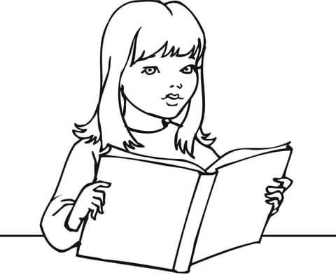 A Girl Reading A Book Coloring Page Coloring Pages Coloring Books Bear Coloring Pages