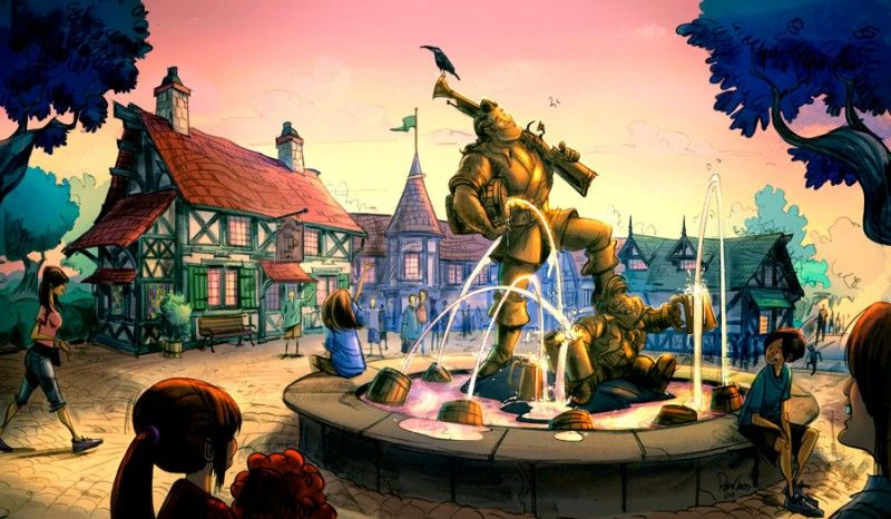 Concept Art For Beauty And The Beast Village In New Fantasyland At Magic Kingdom