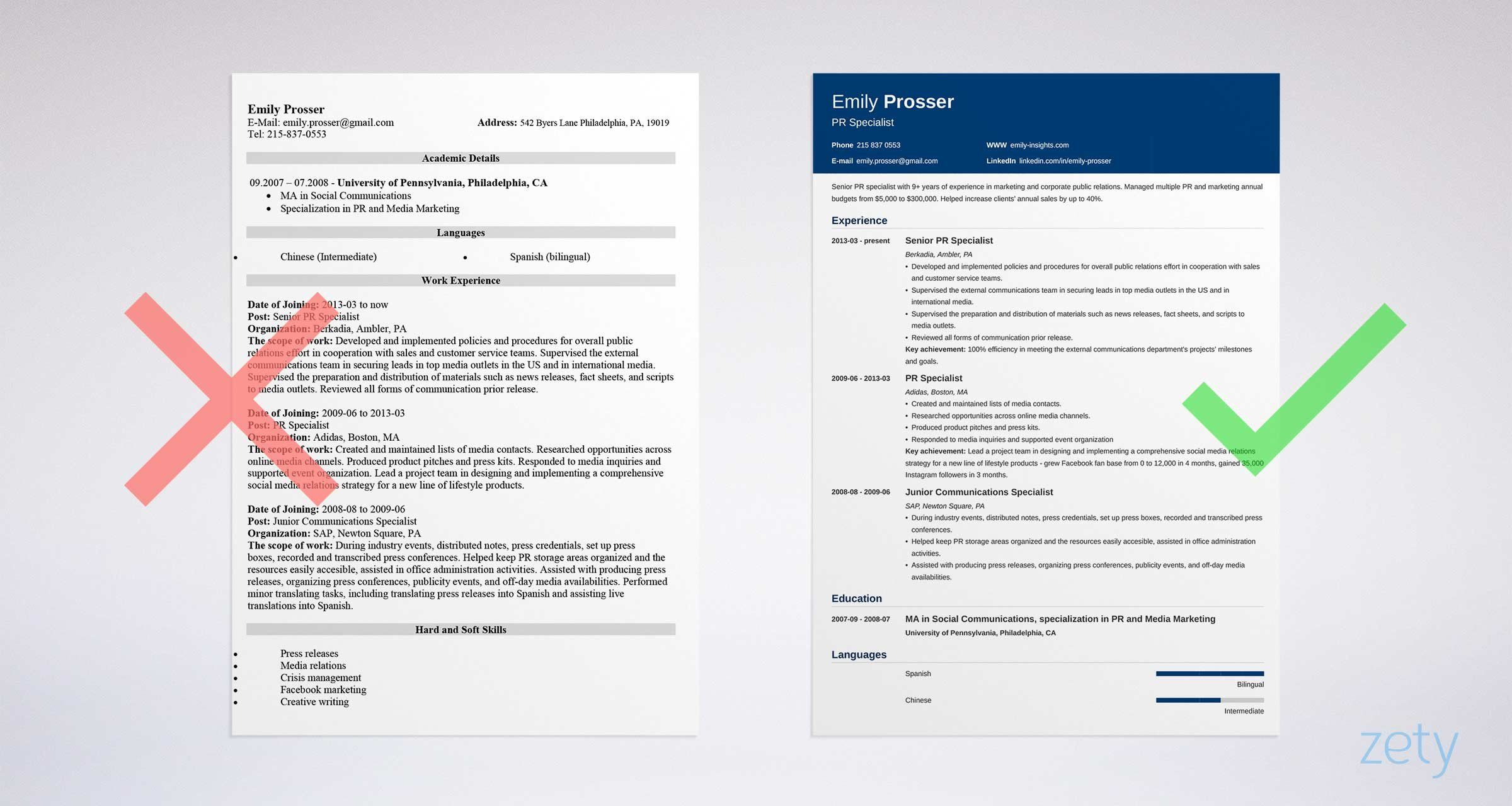 Bad And Good Resume Templates Comparison