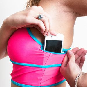 This is brilliant. A fanny pack for your boobs. I already put my iphone in my bra at the gym, but this is even better!!