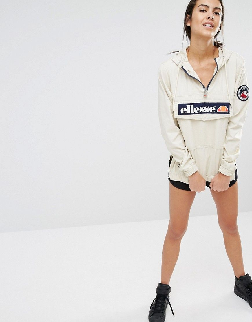 a1c897c553b Image 4 of Ellesse Pullover Hooded Jacket With Half Zip And Logo On Front