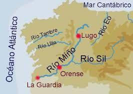 Rio Tambre Mapa Fisico.Rio Sil Nacimiento Afluente Rio Mino Galicia Espana