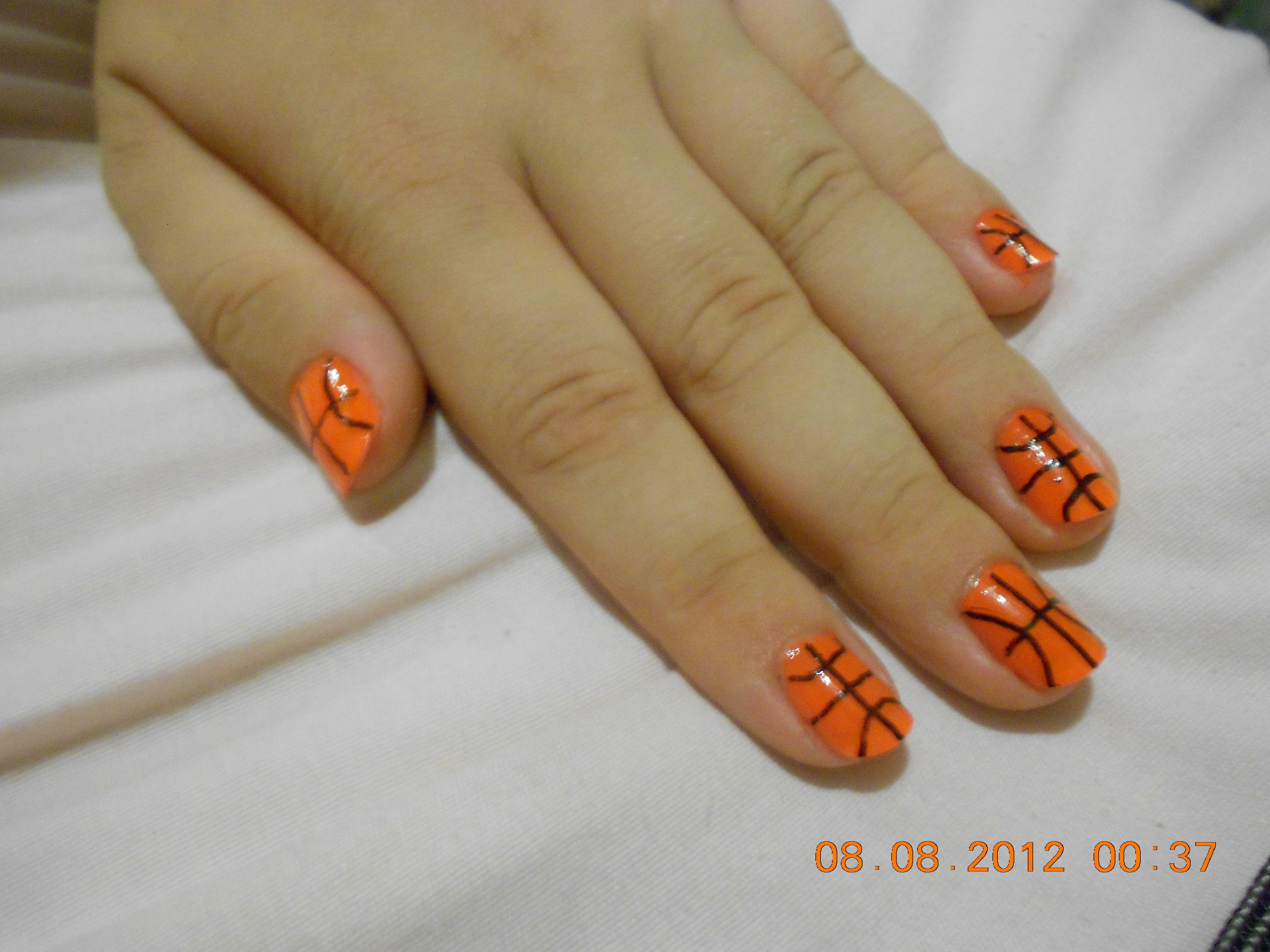Easy basketball nail art for short nails nail art pinterest easy basketball nail art for short nails prinsesfo Choice Image