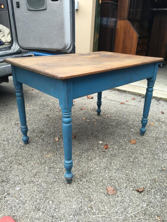 Antique Kitchen Farm Work Table Blue Paint 27 5d43w23h29h Shipping Is Not Free Work Table Antique Kitchen Redo Furniture