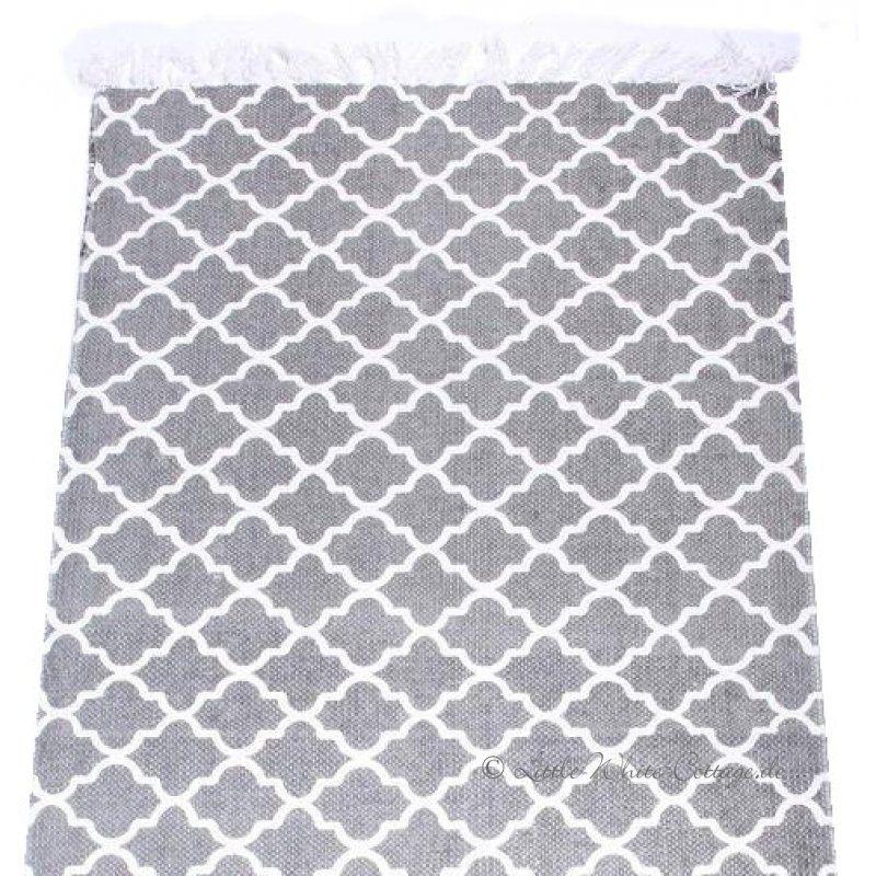 Teppich Laufer Ornamente Baumwolle Fransen Grau Eigene Wohnung