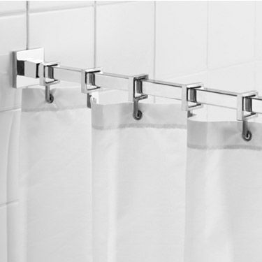 Croydex Contemporary Luxury Chrome Square Shower Curtain Rod Ad116441 At Victorian Plumbing Uk Luxury Shower Curtain Bathroom Accessories Design Shower Curtain Hooks