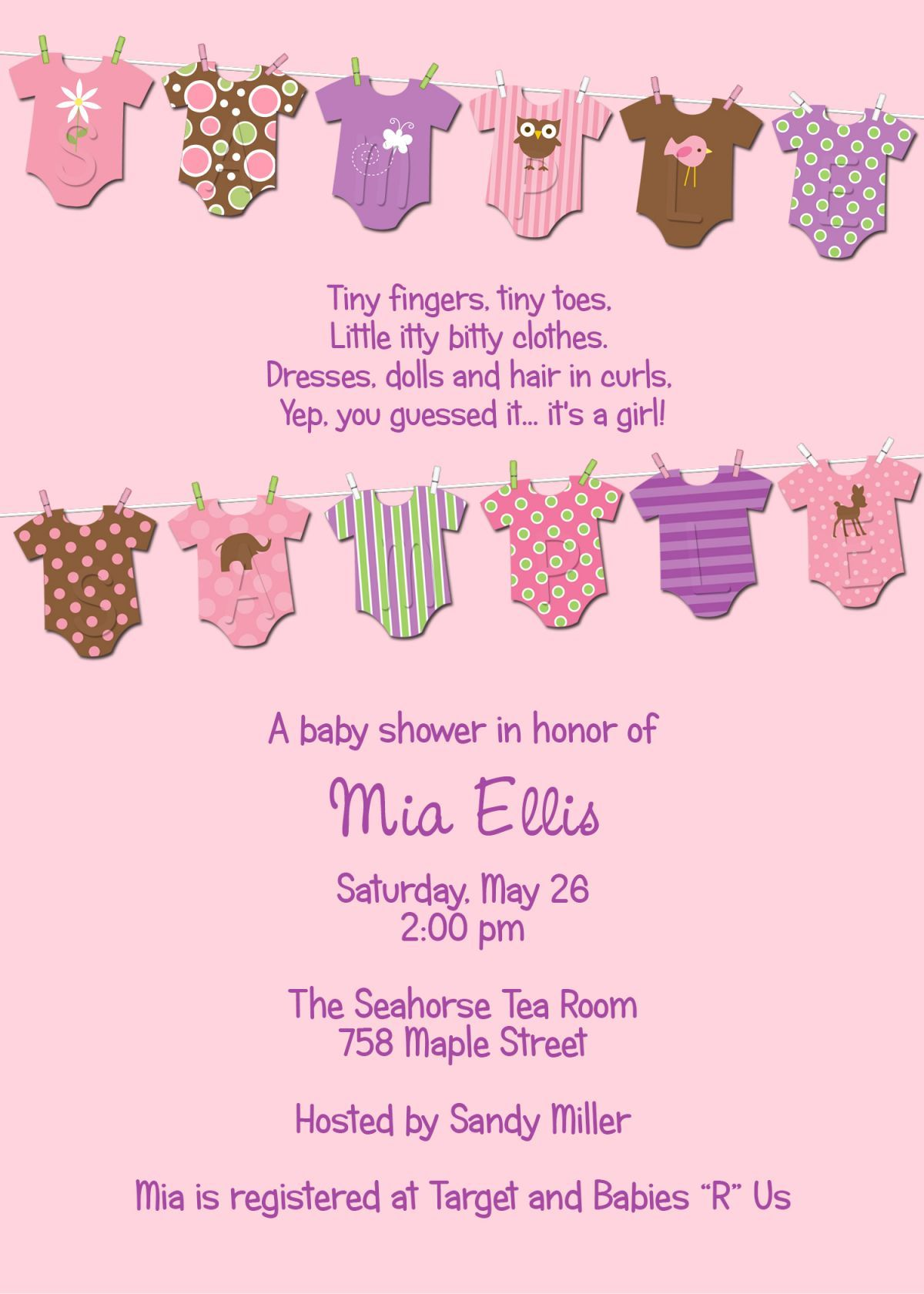 Mia Clothesline Baby Shower Invitation