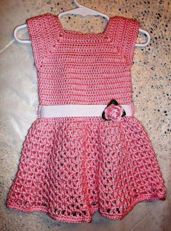 Pink Crochet Girls Dress by KDsKidsCrochet on Etsy, $35.00