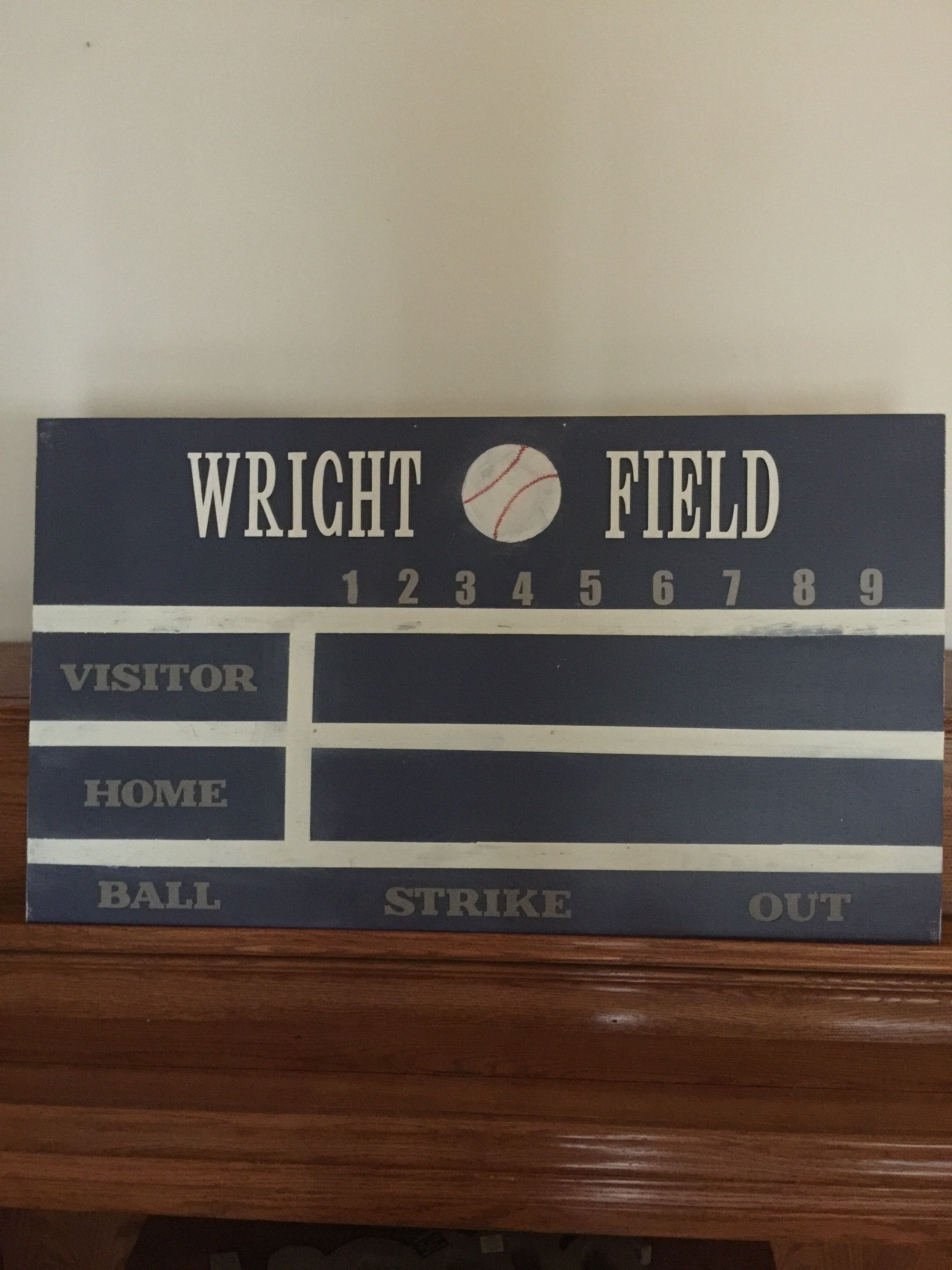 DIY Baseball Scoreboard Sign For My Grandsons Bedroom