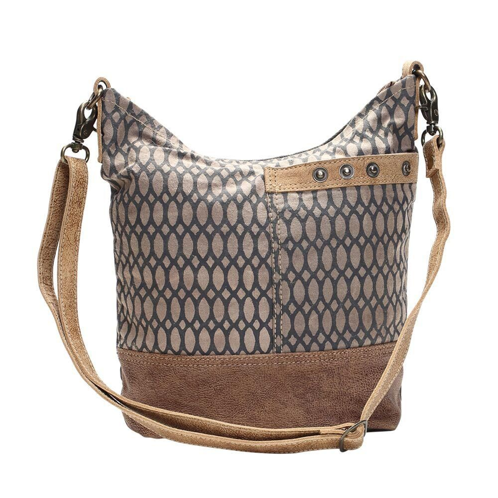 ebbc437cf18b Canvas Honeycomb Print Shoulder Bag | Upcycled Canvas and Leather ...