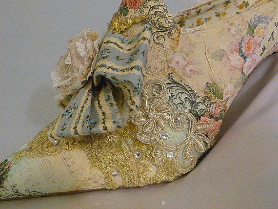 Marie Antoinette Themed Wedding Shoes Digital Print Roses