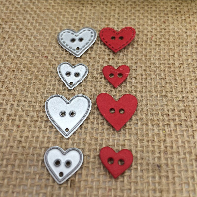 Metal Button Heart Shape Cutting Dies Embossed Stencils