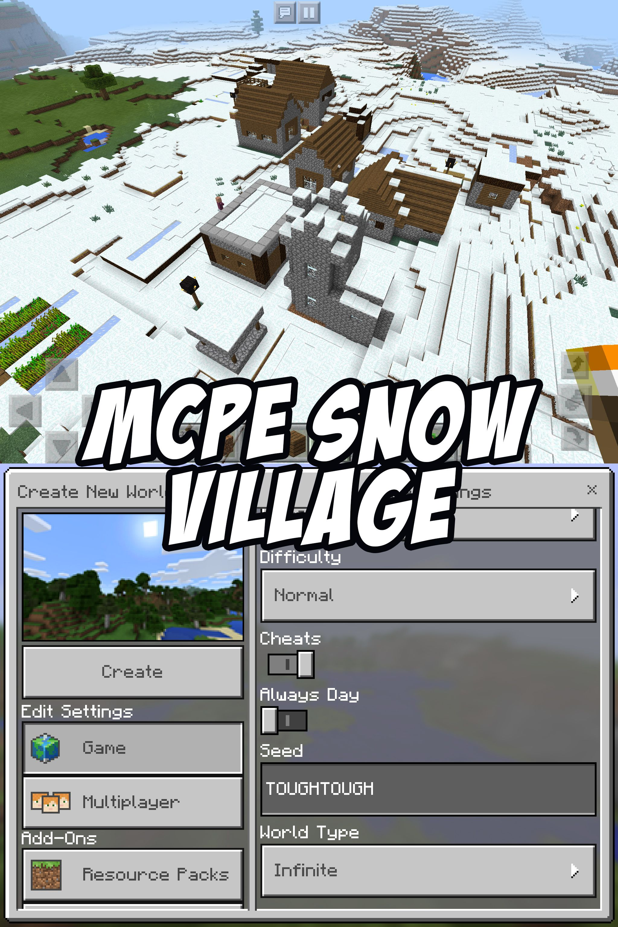 Enter The Seed TOUGHTOUGH To Try This Minecraft PE Snow Village Seed - Minecraft spielen pe
