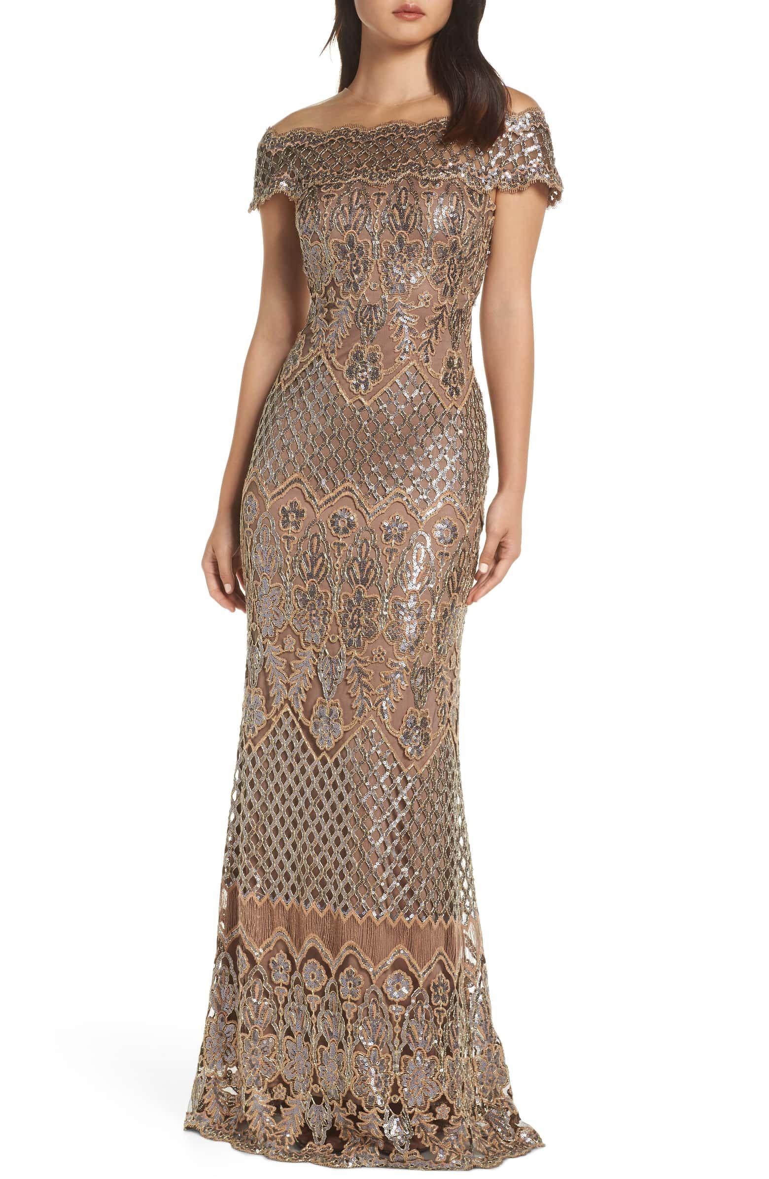 9d0bee5d4b Illusion Neck Sequin Lace Evening Dress, Main, color, COPPER/ ROSE ...