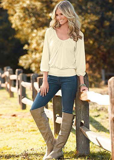 Banded Bottom Ivory Top Color Skinny Denim Jeans Paired