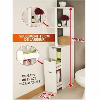 meuble wc etagere bois gain de place pour toile achat vente colonne