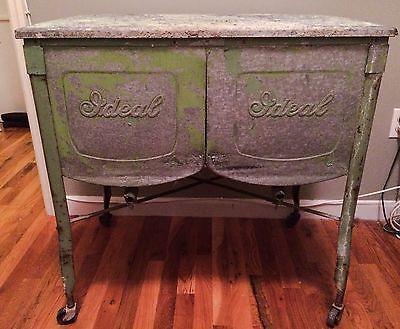 Details About Vintage Galvinized Double Wash Bin W Lid