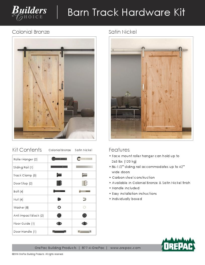 Barn Door Track Hardware Kit Builders Choice Custom Barn Doors Custom Interior Doors Moulding And Millwork