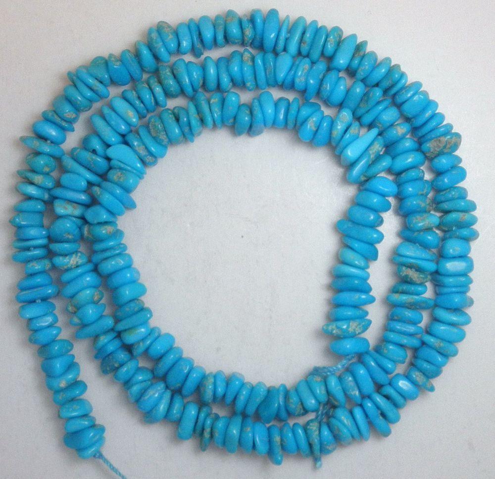 "Sleeping Beauty Turquoise Blue  Gemstone Chip Beads 18"" Strand  Lot # 19 #SleepingBeauty #Southwest"