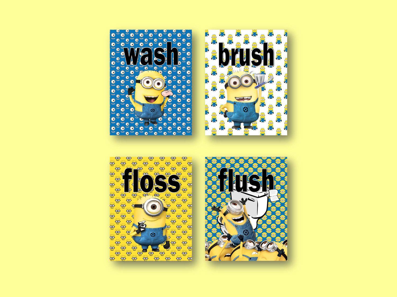 Despicable Me Minions Bathroom Prints Wash Brush Floss Flush Kids ...