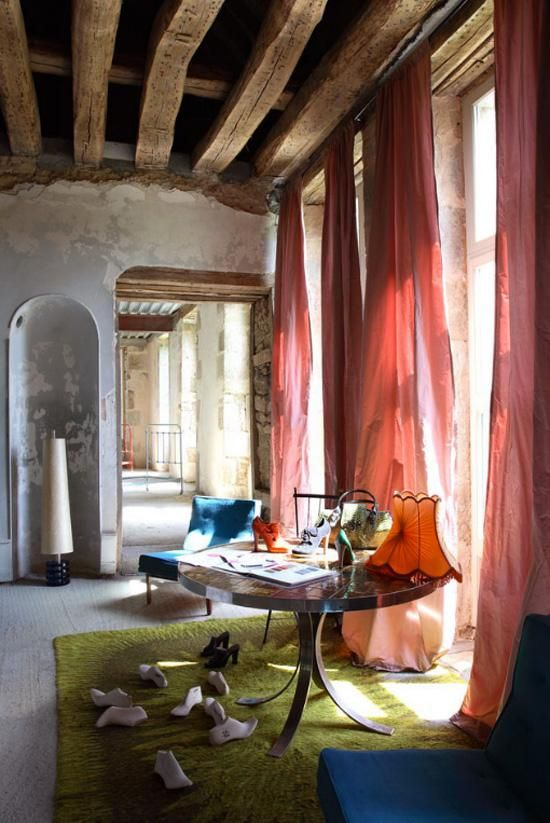 Wood Beams On A High Ceiling Wall To Floor Windows For