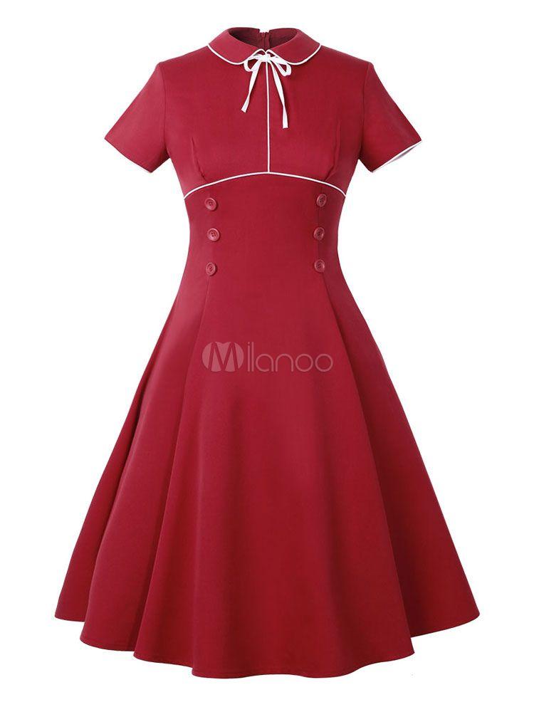 ebe6c60678a Red Vintage Dress Turndown Collar Short Sleeve Slim Fit Pleated Skater Dress