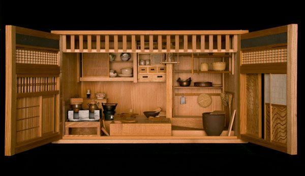 Model Of A Japanese Kitchen, Circa 1880 Japan 21.4 × 37.4 × 21.4 Cm Wood,  Metal, Paper, Ceramic, Plant Fiber Edward S. Morse Collection