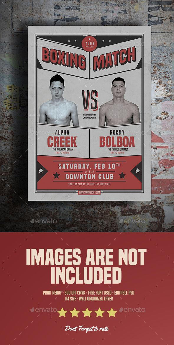 Old Boxing Match Flyer Flyer Sports Flyer Flyer Template