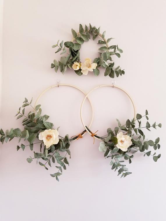 Photo of Modern Hoop Wreaths, Wreaths for Nursery, Minimalist Wreaths, Eucalyptus Wreath Set