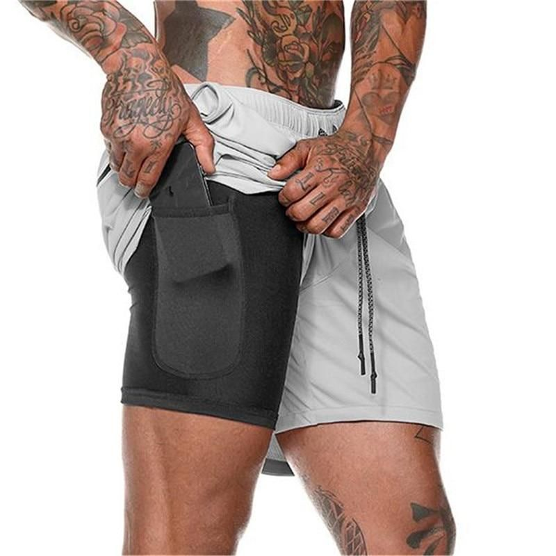 Men/'s Sport Shorts Mesh Workout Pants Running Gym 2-in-1 Shorts with Pockets