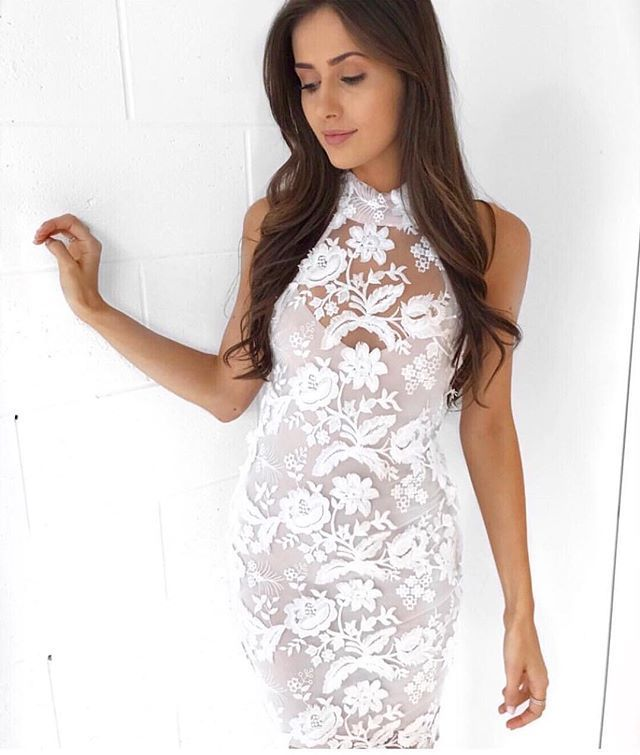 The Lucia High Neck Gown In White Has The Prettiest
