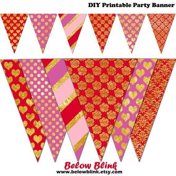 Valentine\u0027s Day Banner, Printable Valentine Bunting, Birthday Party