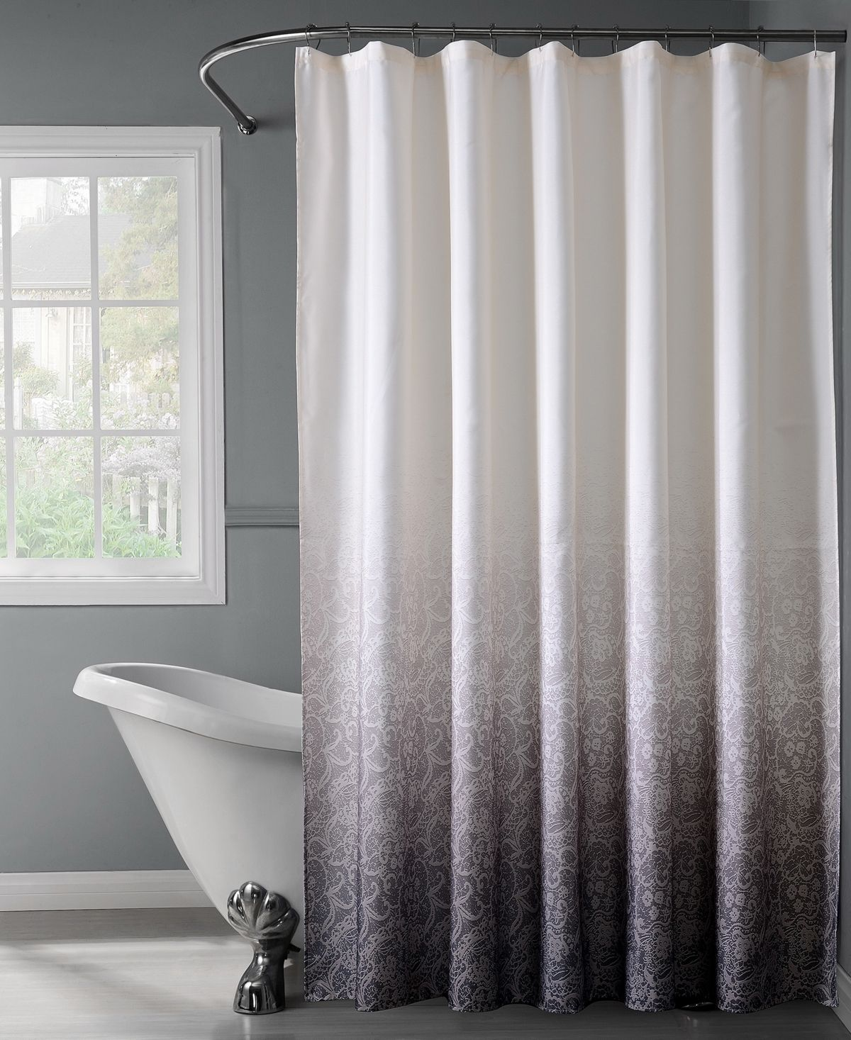 Bath Bliss Lace Ombre Shower Curtain White Black White Shower Curtain Shower Curtain