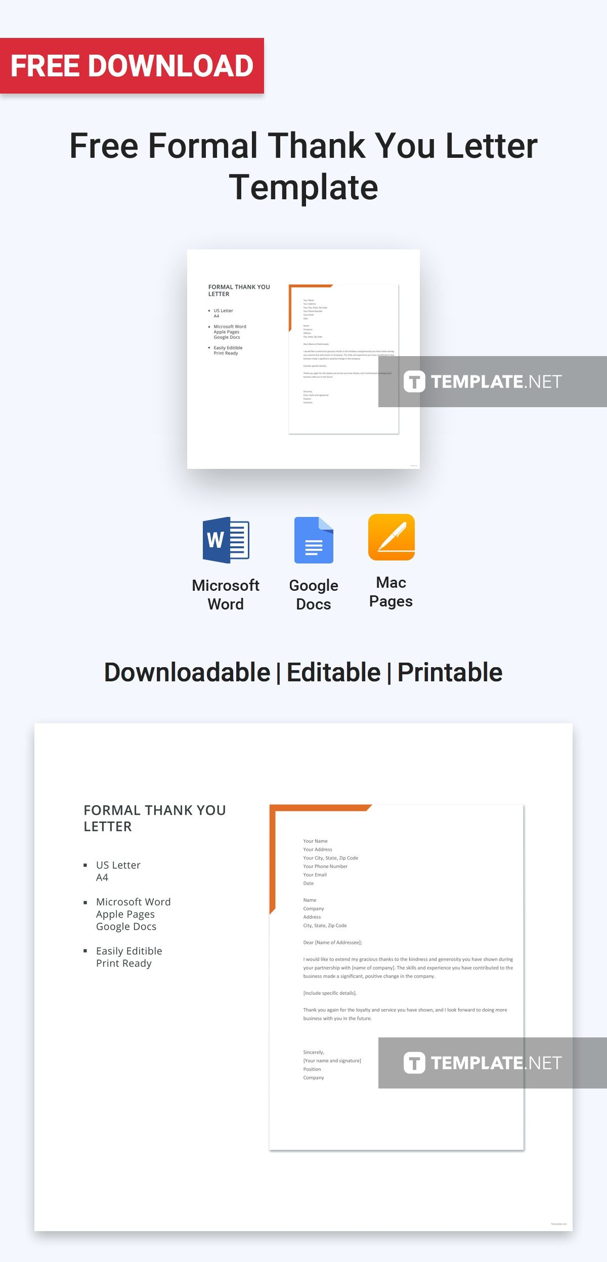Free Formal Thank You Letter Letter Templates Designs 2019
