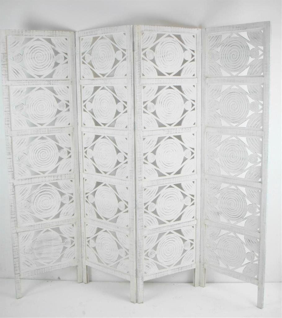 Superior 4 Panel Hand Carved Indian Screen Wooden Swirl Design Screen Room Divider:  Amazon.co