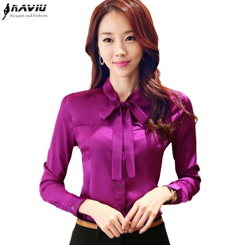 250a9446eeffb Cheap Arco elegante ropa de trabajo de manga larga femenina camisa de gasa  OL de la bufanda de cuello delgado blusas de las mujeres más el tamaño de  oficina ...