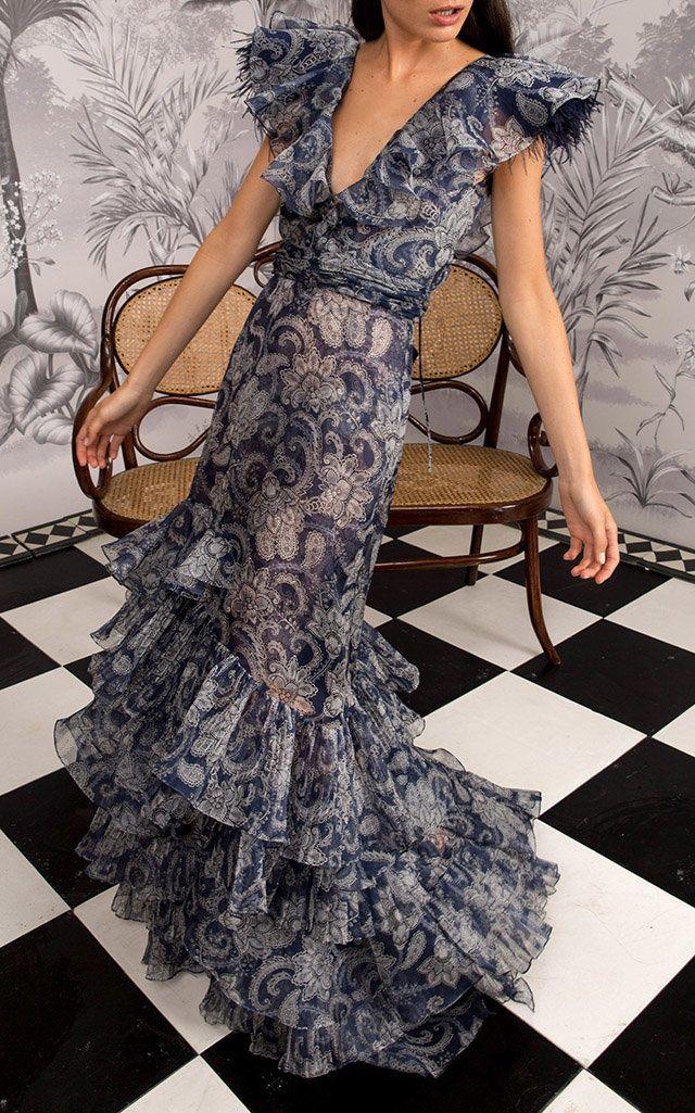 Sea Nymph Ruffled Silk-Organza Gown