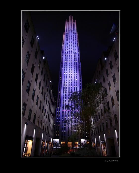 A matted version of the 30 Rock building at night.