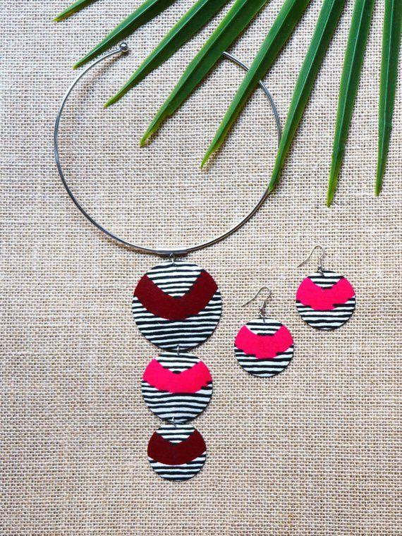 Set Wanda, Wax grey chacha, African jewelry, jewelry wax, women jewelry, grey necklace, wax, wax, African fabric earring necklace