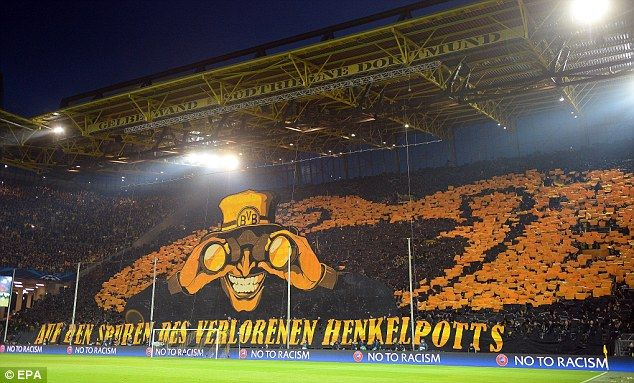 The Fans Of Borussia Dortmund In The Uefa Champions League Against Malaga Cf Champions League Uefa Champions League Dortmund